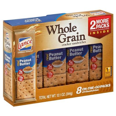 Lance Whole Grain Peanut Butter Cracker Sandwiches 12 1 Oz