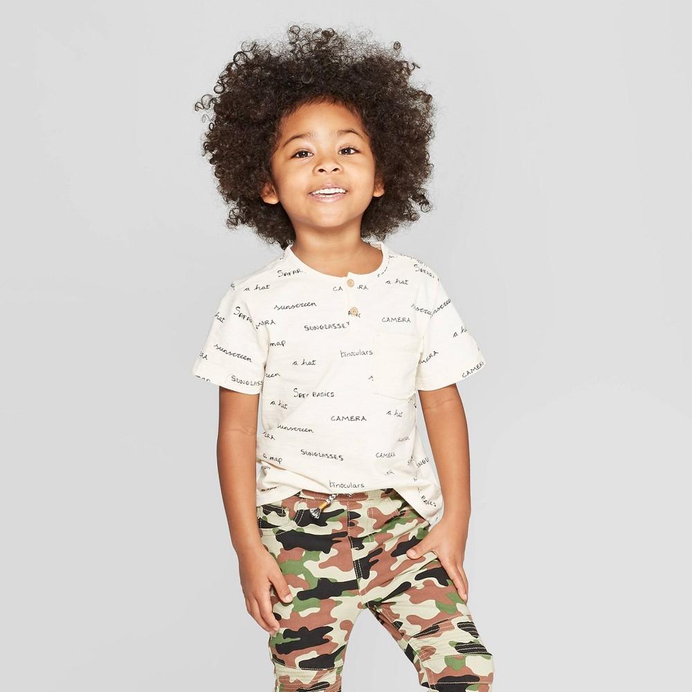 Toddler Boys' Short Sleeve Henley T-Shirt - art class Ivory 2T, White
