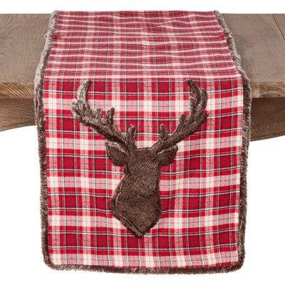 72  x16   Holiday Plaid & Reindeer Poly Blend Table Runner Red - Saro Lifestyle