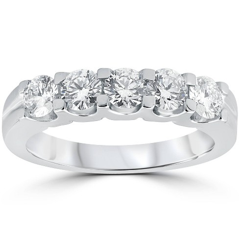 Pompeii3 1ct Diamond Wedding Ring Anniversary Stackable Band 14K White Gold - image 1 of 4