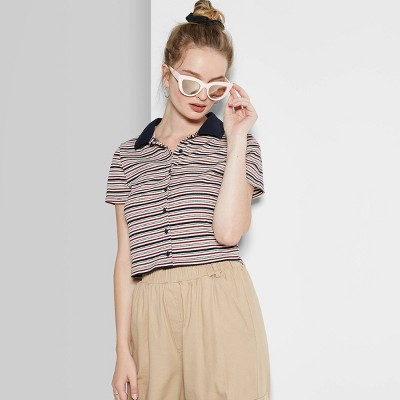 Women's Striped Short Sleeve Button Front Polo Shirt   Wild Fable Pink/Navy by Wild Fable Pink/Navy