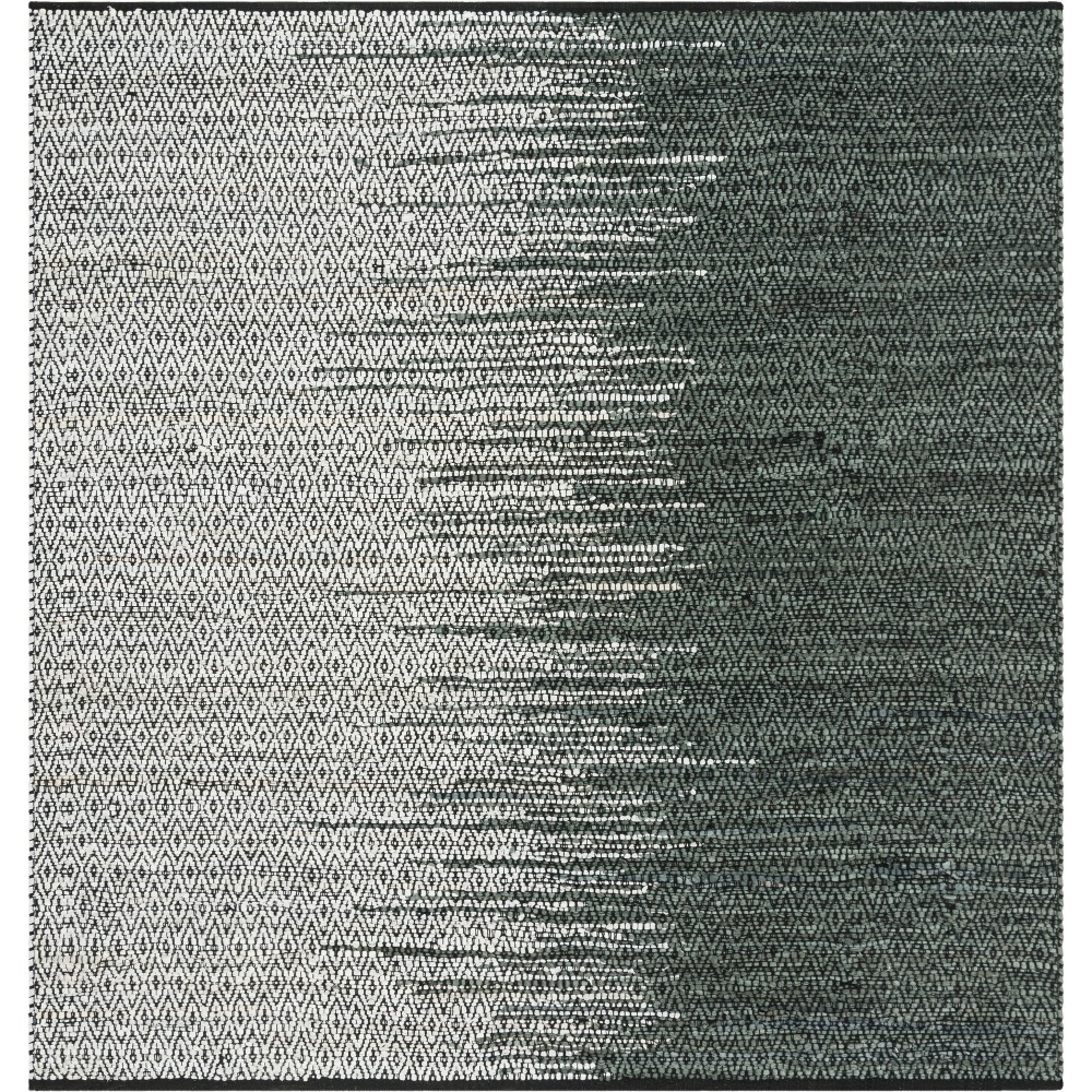 6X6 Geometric Woven Square Area Rug Light Gray/Charcoal - Safavieh Best