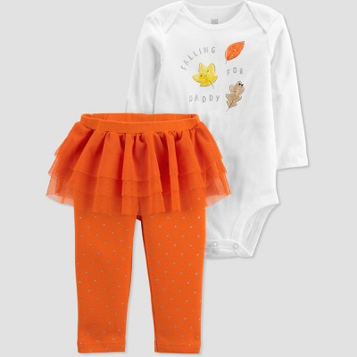 Baby Girls' 'Falling For Daddy' Top and Bottom Set - Just One You® made by carter's White/Orange 3M