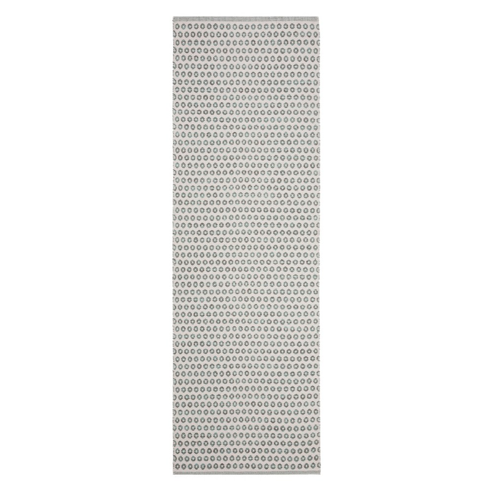 2'3X7' Geometric Woven Runner Slate/Ivory (Grey/Ivory) - Safavieh