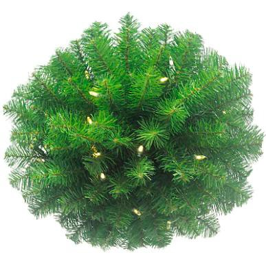 """Arett Sales 16"""" Prelit Battery-Operated Classic Pine Artificial Christmas Kissing Ball - Warm Clear LED Lights"""