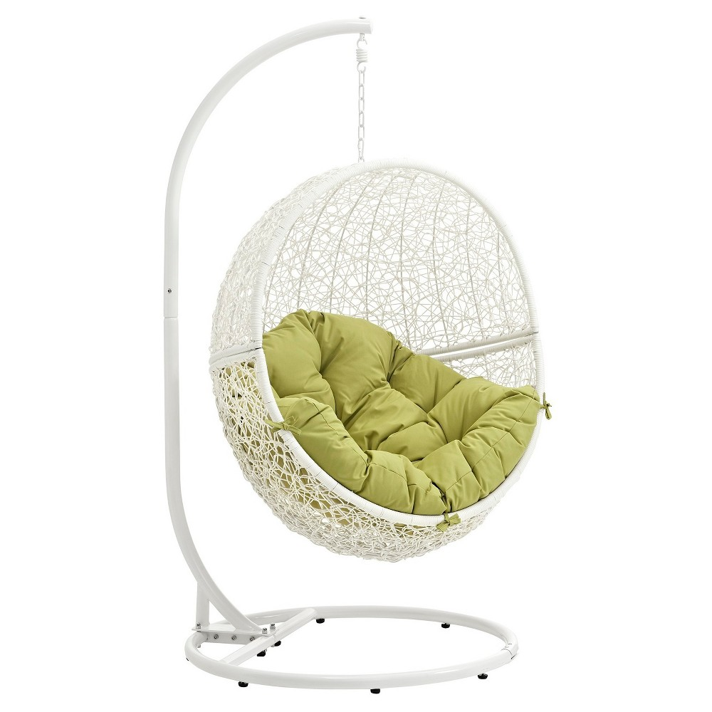 Hide Outdoor Patio Swing Chair in White Peridot - Modway