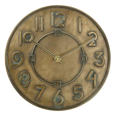 Bulova Clocks C3333 Frank Lloyd Wright Exhibition Round 12 Inch Diameter Hanging Wall Clock, Antique Bronze Finish