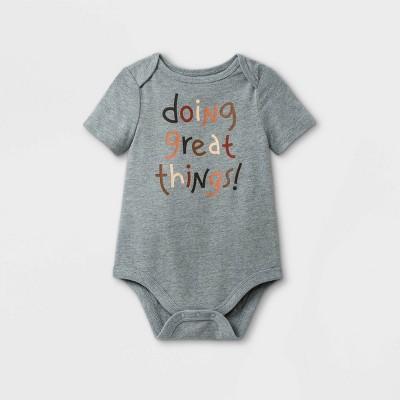 Baby 'Doing Great Things' Short Sleeve Bodysuit - Cat & Jack™ Gray 3-6M