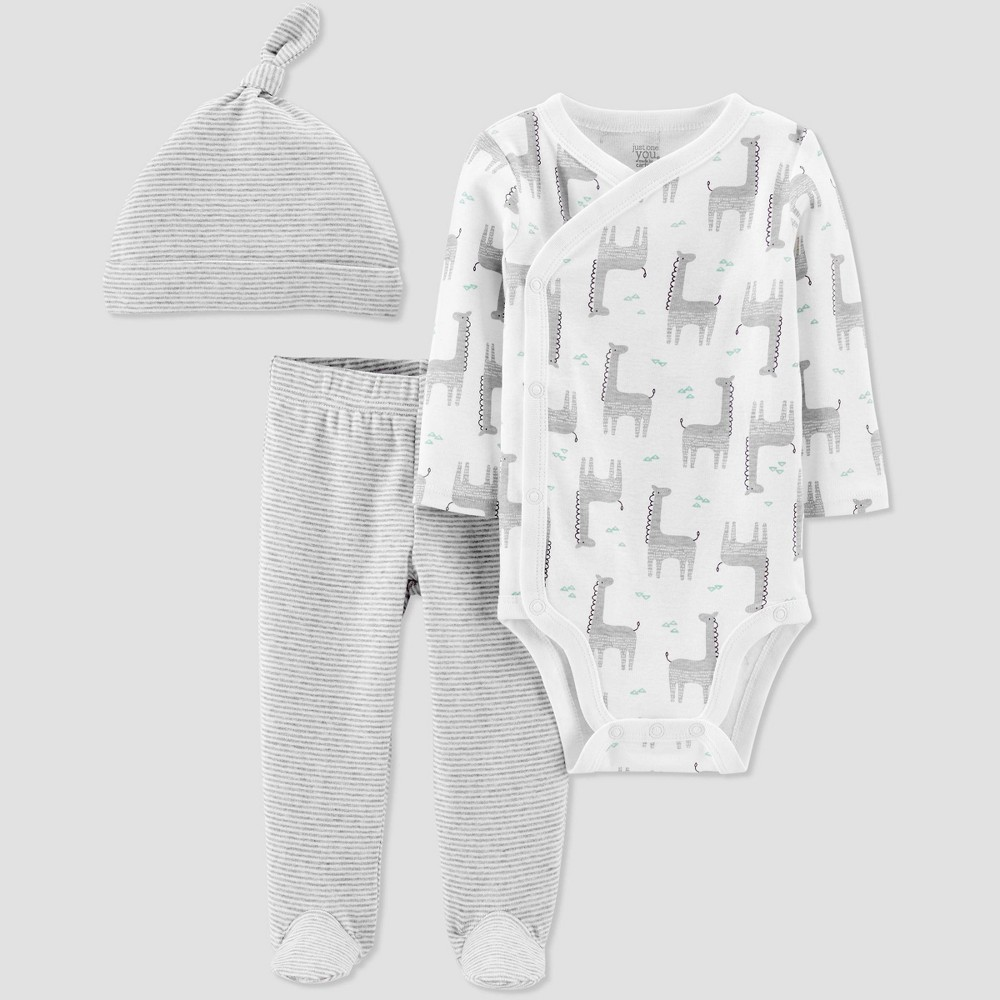 Image of Baby 3pc Giraffe Top and Bottom Set - Just One You made by carter's Off-White, Kids Unisex, Size: 3M, Beige/White
