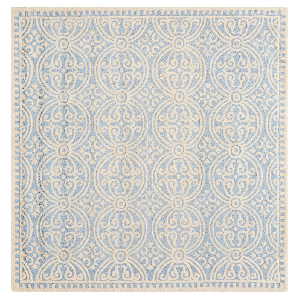 6'X6' Geometric Area Rug Light Blue/Ivory - Safavieh