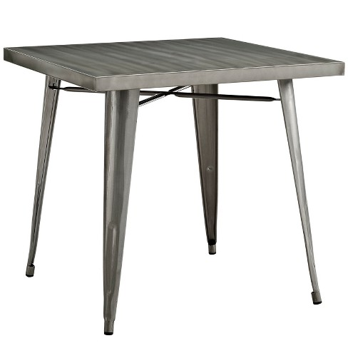 Alacrity Square Metal Dining Table Gunmetal - Modway - image 1 of 4