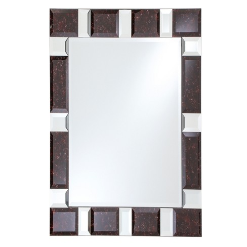 Rectangular Beveled Frameless Wall Mirror With Black Granite And Mirrored Border 24 X 36 Breeze Point