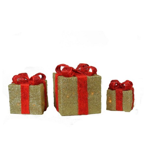 Northlight Set of 3 Gold and Red Sisal Lighted Gift Boxes Outdoor Christmas Decorations - image 1 of 3