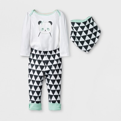 Baby Girls' Geo Bright 3pc Panda Set - Cloud Island™ White Newborn