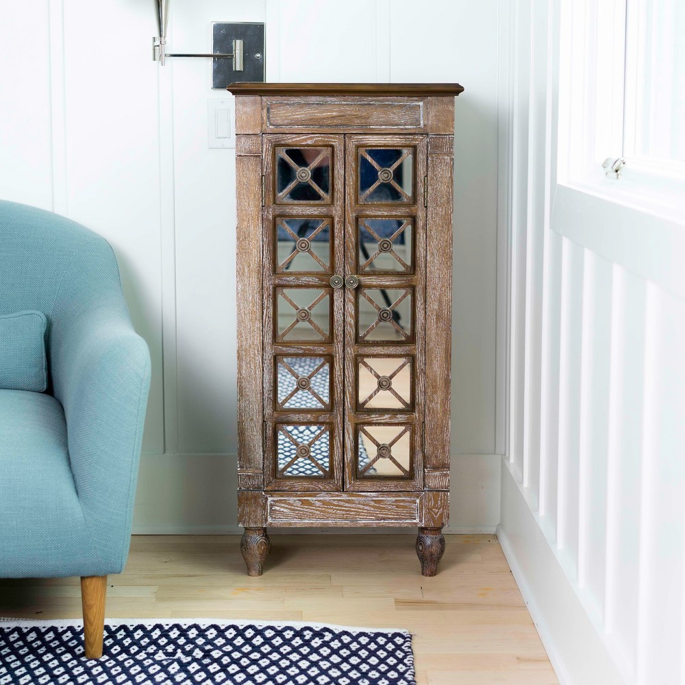 Image of Celine Standing Jewelry Armoire Ceruse Oak Brown - Hives & Honey