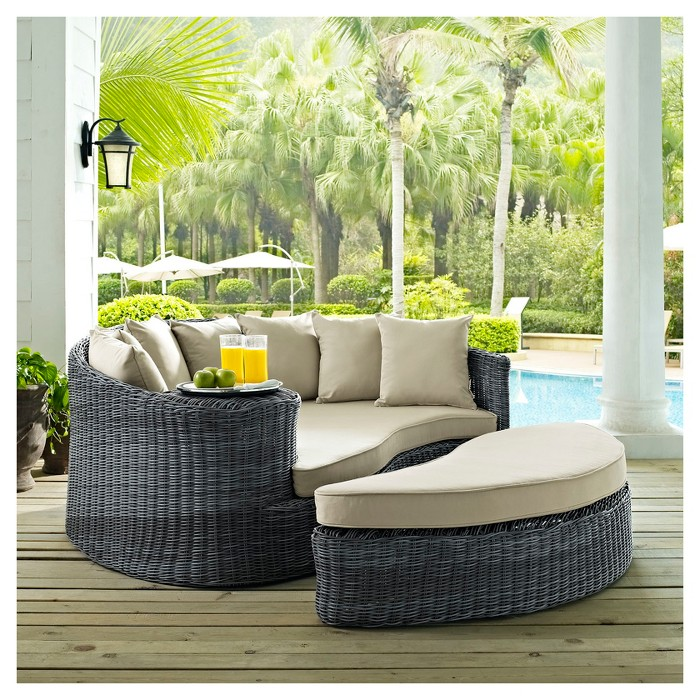 Summon Outdoor Patio Sunbrella® Daybed in Antique Canvas Beige - Modway - image 1 of 4