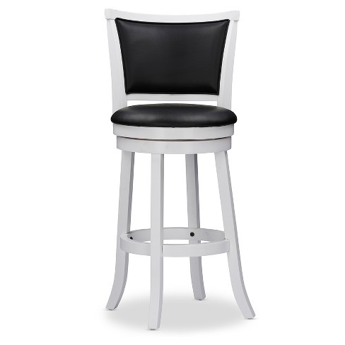 Kasey Solid Wood Swivel Bar Stool With Faux Leather Seat White