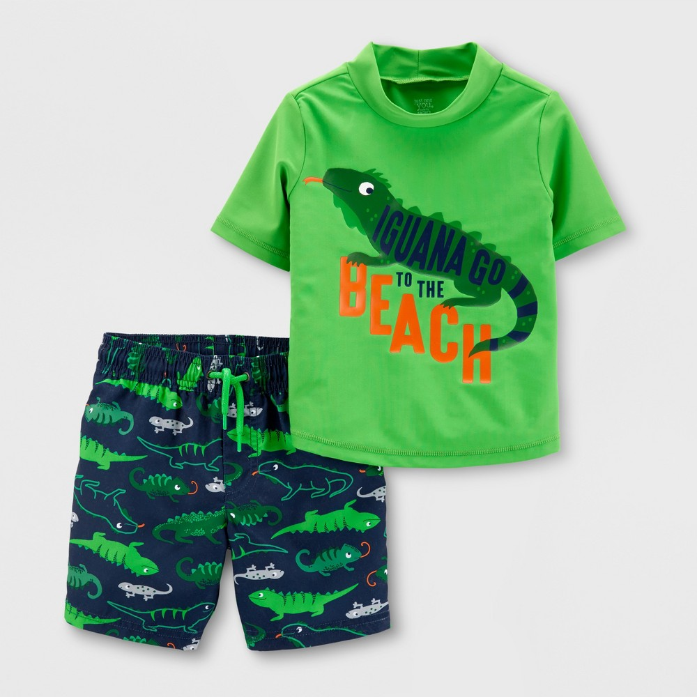 Toddler Boys' 2pc Iguana Rash Guard Set - Just One You made by carter's Green 18M
