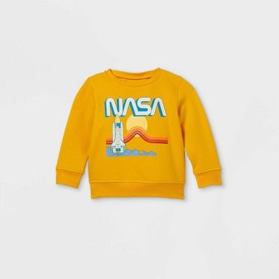 Toddler Boys' NASA Fleece Crew Neck Pullover - Mustard Yellow