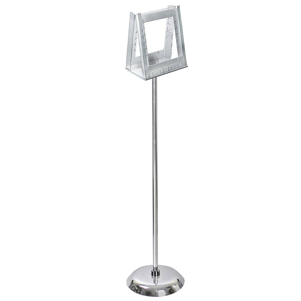 Azar Displays 8 5 X 11 2 Pocket Acrylic Literature Holder With Metal Pole And Stand For Paper