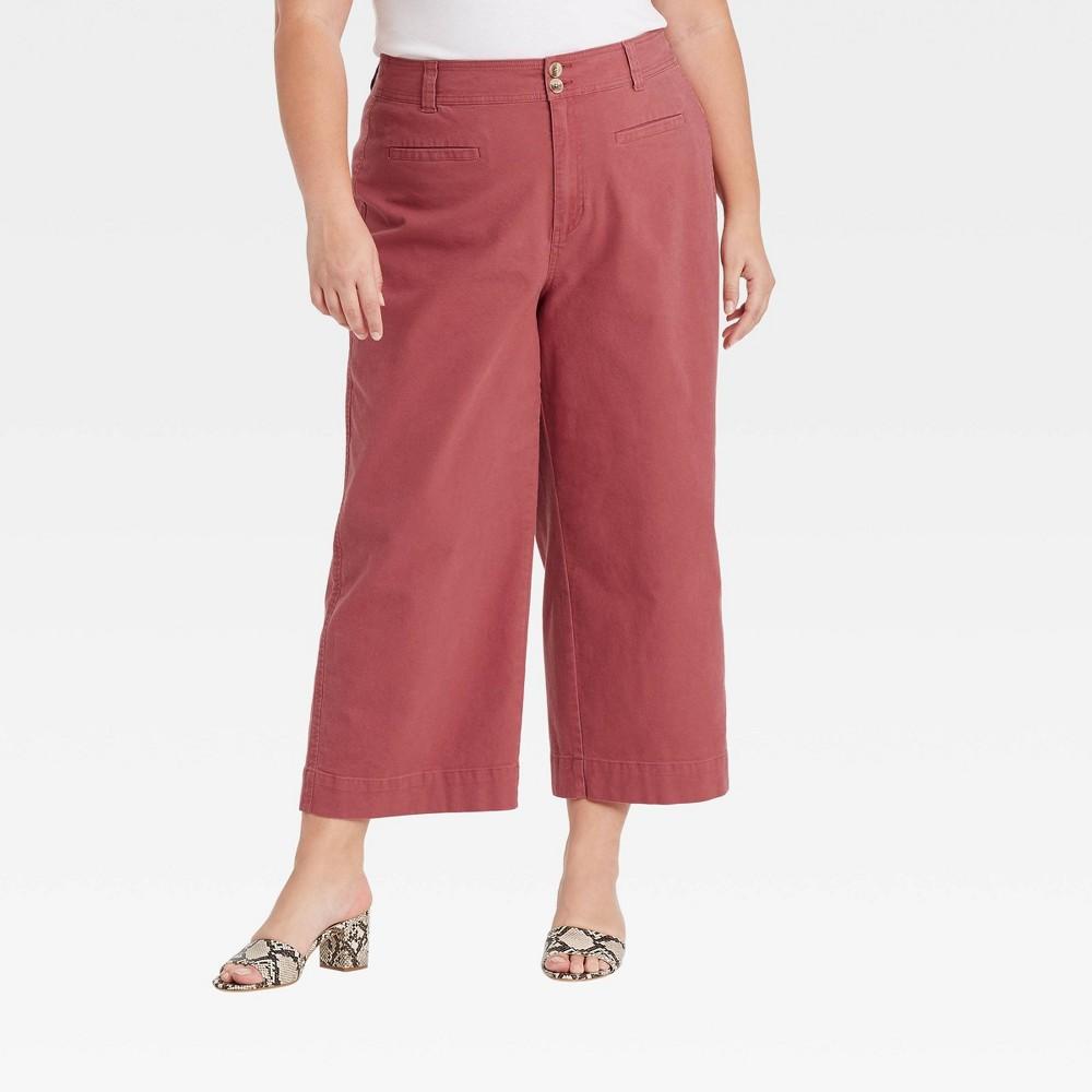 Women 39 S Plus Size Cropped Wide Leg Fashion Pants A New Day 8482 Dark Pink 16w