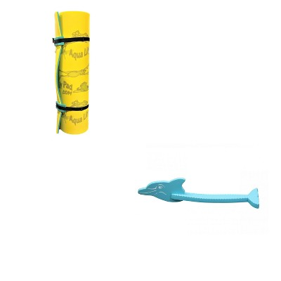 Aqua Lily Pad 12 Foot Water Playground Floating Foam Island & Dolphin Foam Swimming Pool Noodle Kids Floatation Toy, Yellow/Aquamarine
