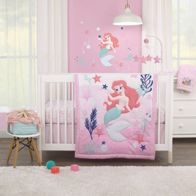 Disney The Little Mermaid Ariel Cute By Nature Nursery Crib Bedding Set - 3pc
