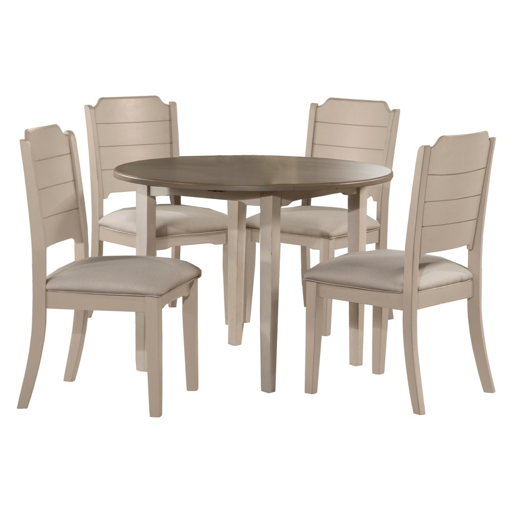 Clarion 5pc Round Drop Leaf Dining Set with Side Chairs Gray Fog Fabric - Hillsdale Furniture, White
