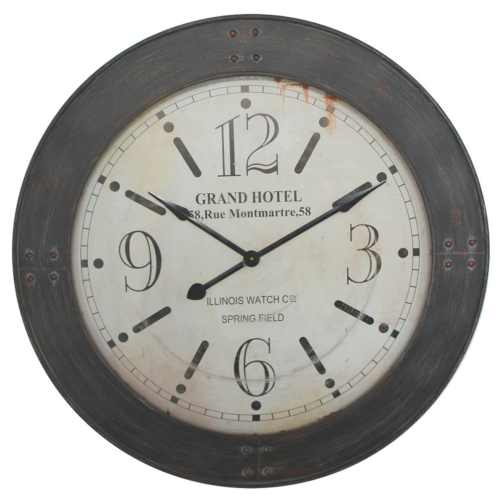 39 Round Wall Clock Distressed Iron - Yosemite Home Decor