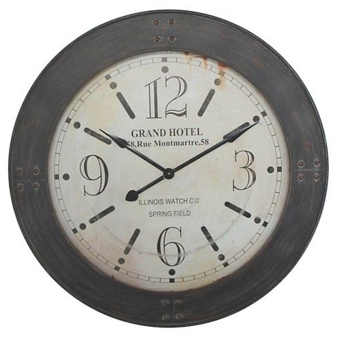 "39"" Round Wall Clock Distressed Iron - Yosemite Home Decor® - image 1 of 1"