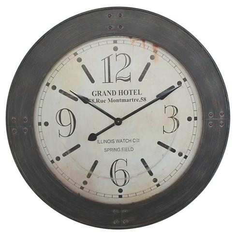 "39"" Round Wall Clock Distressed Iron - Yosemite Home Decor - image 1 of 2"