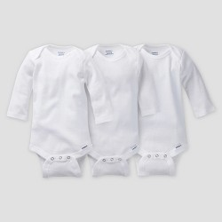 Gerber Baby Organic Cotton 3pk Long Sleeve Onesies Bodysuit - White