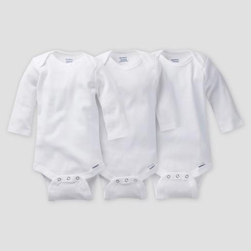 c123eff74 Gerber Baby Organic Cotton 3pk Long Sleeve Onesies Bodysuit - White : Target