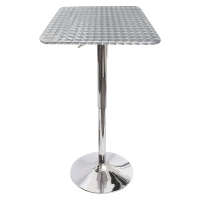 Adjustable Bar Height Table Metal/Silver - LumiSource