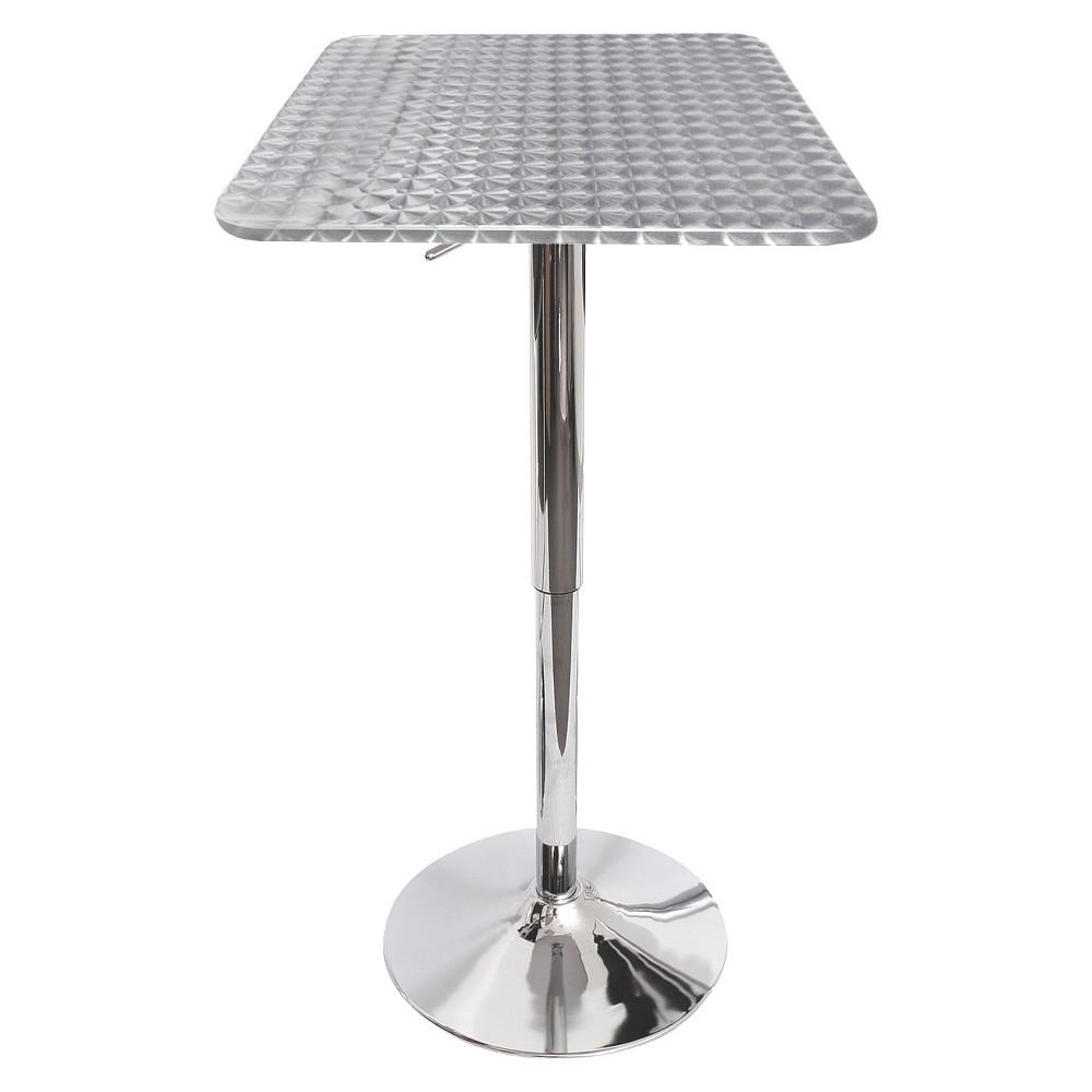 Adjustable Square Pub Table Metal/Silver - LumiSource