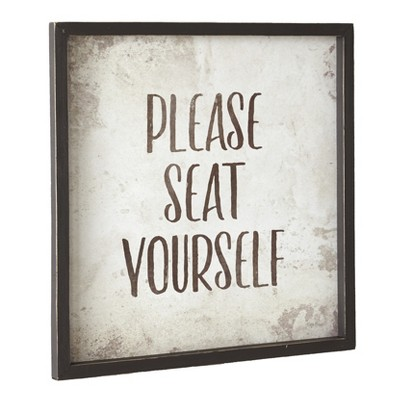 "Lakeside Funny Farmhouse Bathroom Sign - Please Seat Yourself - 13"" sq."