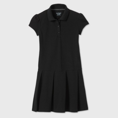 Girls' Short Sleeve Pleated Uniform Tennis Dress - Cat & Jack™ Black