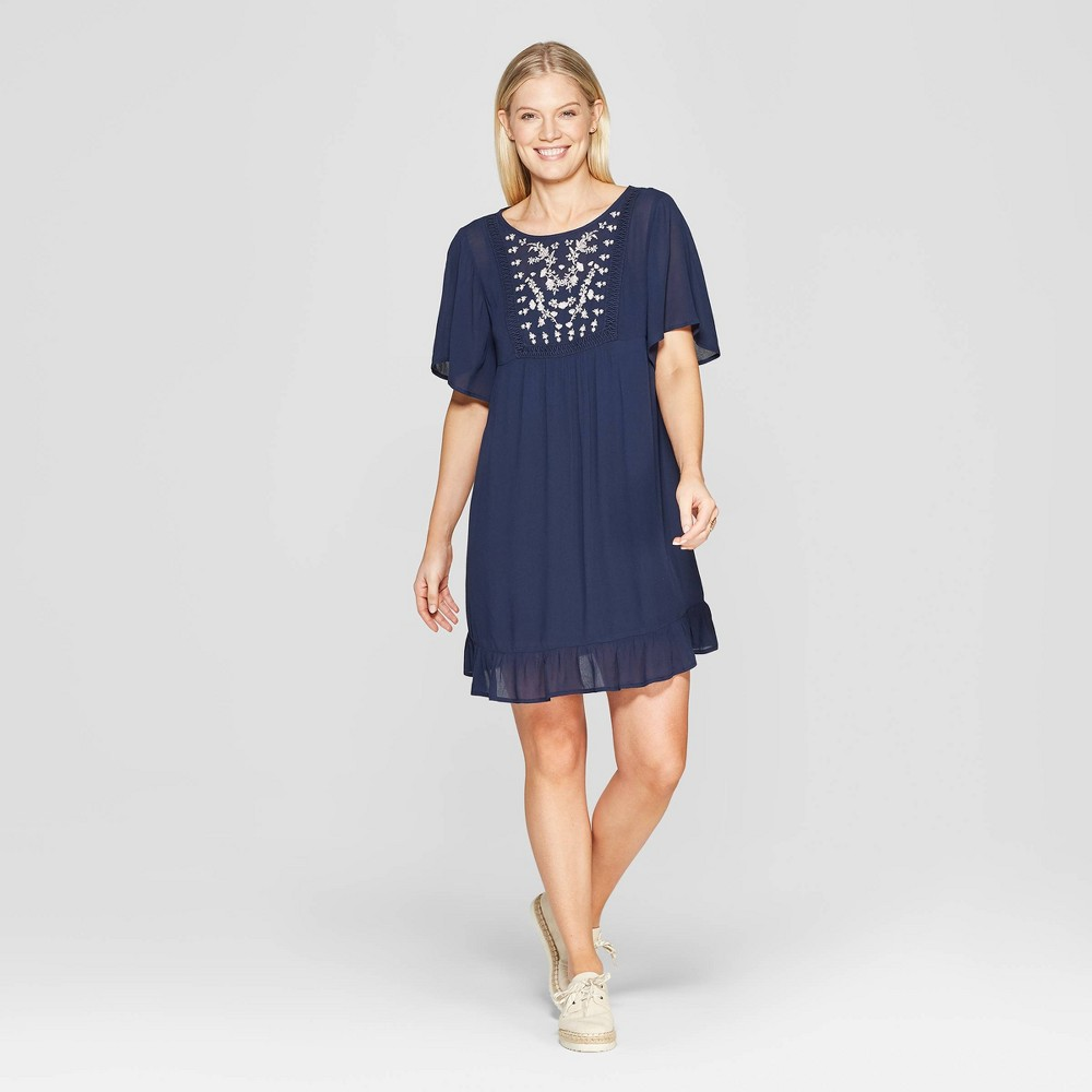 9ad90f53fdb8d9 Womens Short Sleeve Crewneck Shift Midi Dress With Embroidery Knox Rose  Navy XL Blue