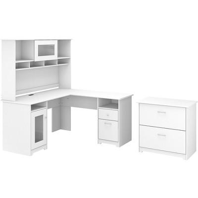 Bush Furniture 60 L-shaped Computer Desk w/Hutch and Lateral File Cabinet White CAB005WHN