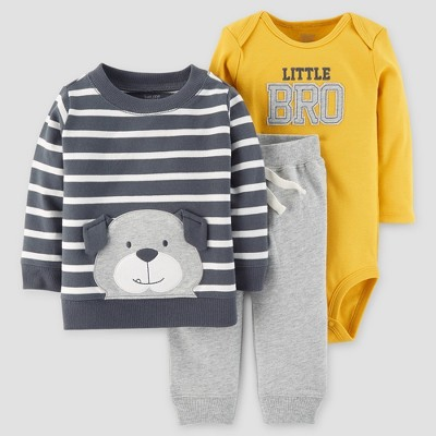 Baby Boys' 3pc Cotton Little Bro Bear Set - Just One You™ Made by Carter's® Gray/Gold 3M