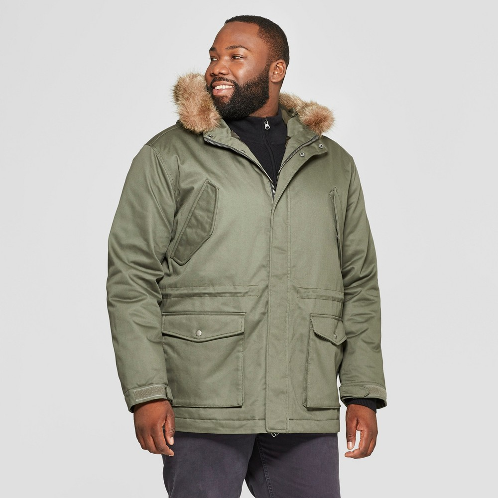 Men's Big & Tall Cotton Winter Military Jacket - Goodfellow & Co Olive 3XB-Tall, Size: 3XBT, Green
