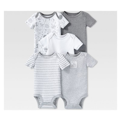 Lamaze Baby's Organic Cotton 5pc Shorts sleeve Bodysuit Set - Gray 3M