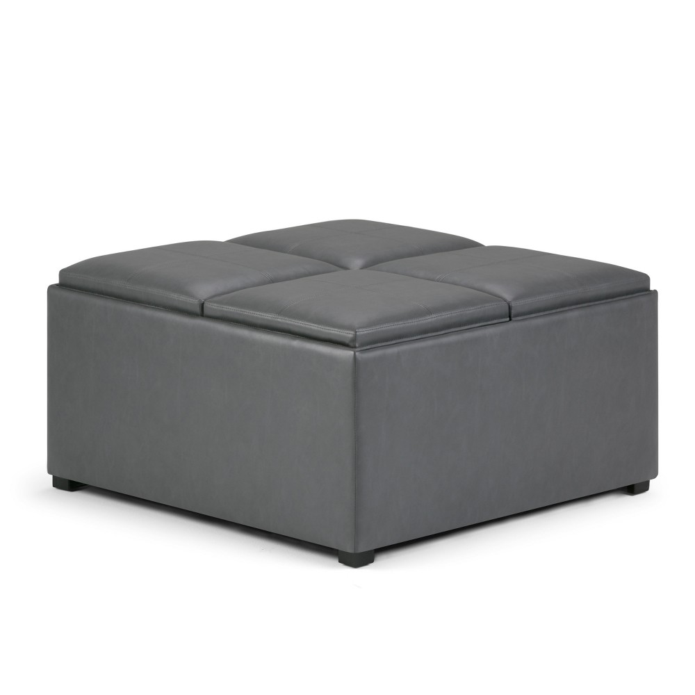 FranklSquare Coffee Table Storage Ottoman Stone Gray Faux Leather - Wyndenhall
