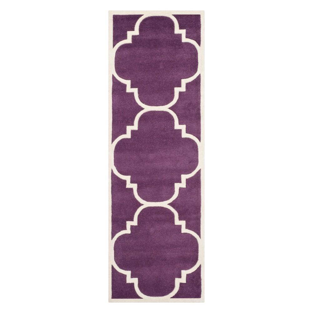 23X9 Quatrefoil Design Tufted Runner Purple/Ivory - Safavieh Coupons