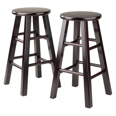 """2pc 24"""" Pacey Counter Height Barstools Set Espresso - Winsome"""