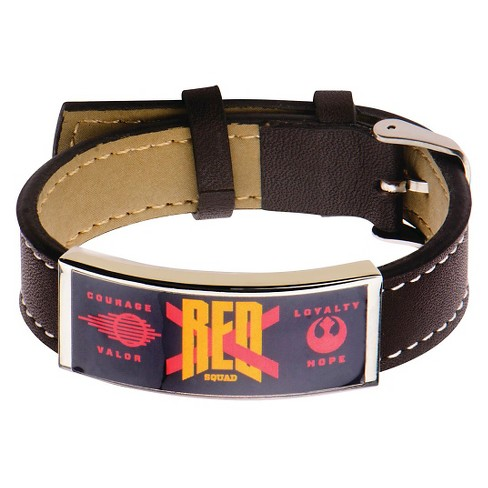 "Men's Star Wars The Force Awakens Red X-Wing ID Stainless Steel and Leather Bracelet - Brown (9.25"") - image 1 of 2"