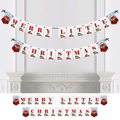 Big Dot of Happiness Merry Little Christmas Tree - Red Truck and Car Christmas Party Bunting Banner - Party Decorations - Merry Little Christmas