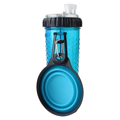 Dexas Snack-Duo Bottle and Collapsible Companion Cup - 24oz Blue