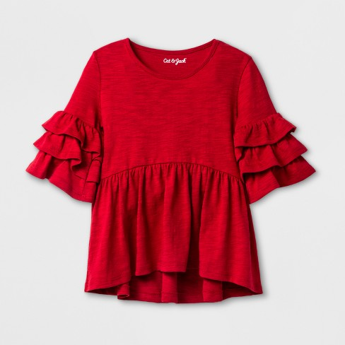6e469652d4f9be Toddler Girls' Ruffle Sleeve Top - Cat & Jack™ Red 5T : Target