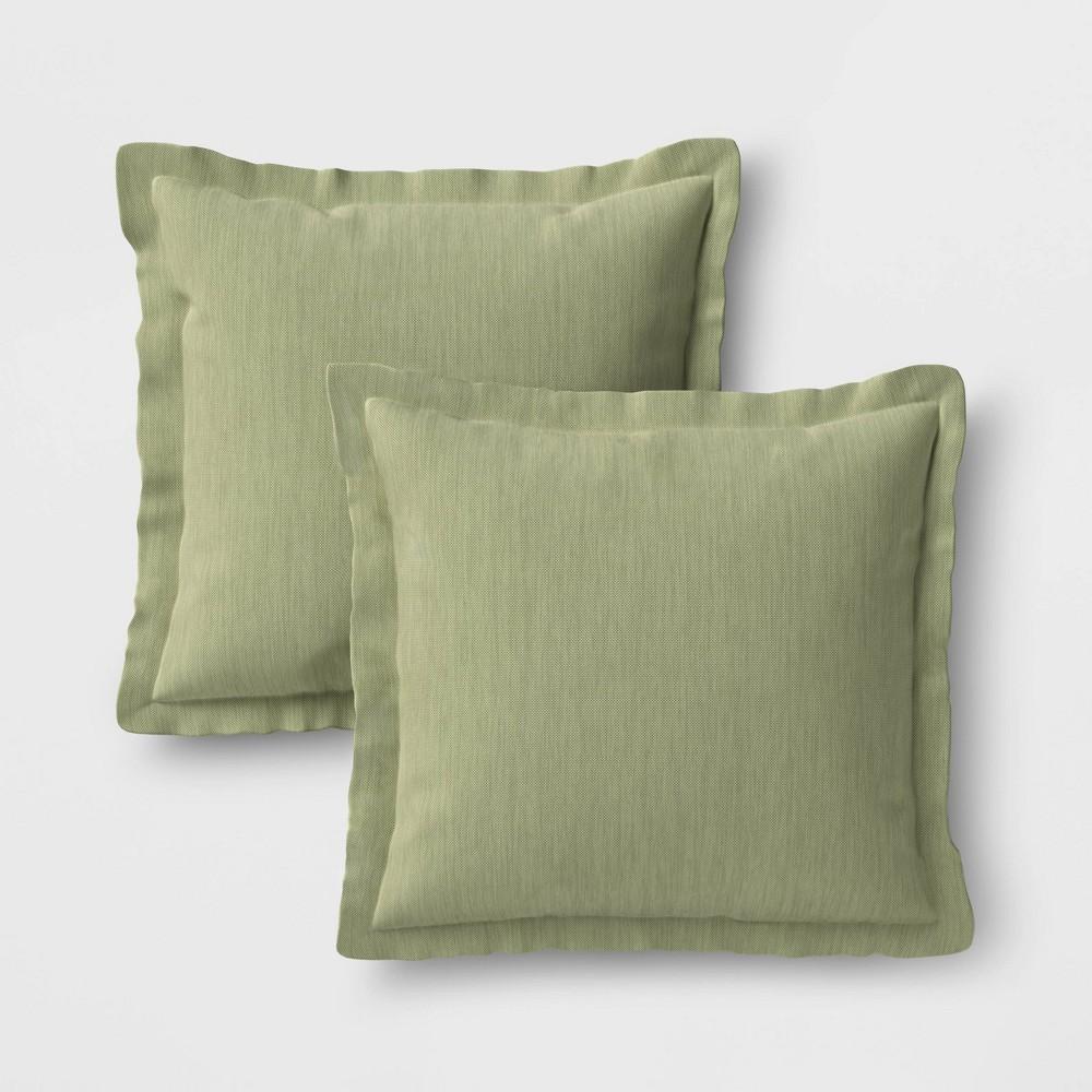 Image of 2pk Outdoor Throw Pillows DuraSeason Fabric Sage - Threshold